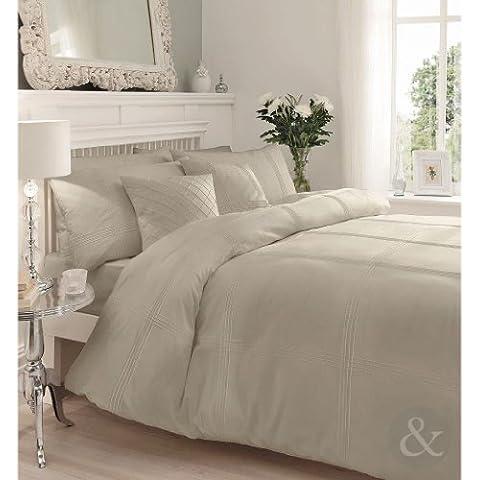 Juego de funda nórdica y funda de almohada de algodón, diseño de rayas, mezcla de algodón, beige, funda de edredón doble King size