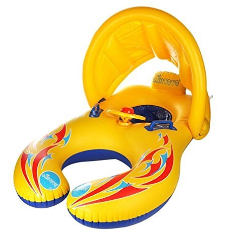 Baby Schwimmen Ring Dual Person Mutter und Baby Float Schwimmring Floß mit Sonnenschirm Aufblasbare...