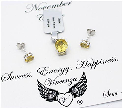 Vincenza con pietre di cristallo pietra set collana e orecchini in argento Sterling 925gioielli ciondolo con messaggio sulla scheda, 925, colore: Silver, cod.