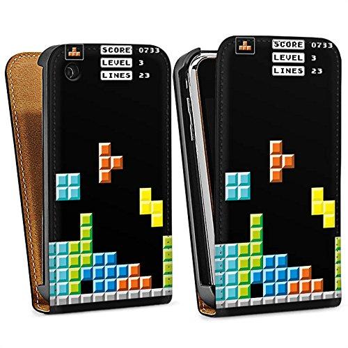 Apple iPhone 5s Housse étui coque protection Jeu Tetris 8 bit couleurs Sac Downflip noir