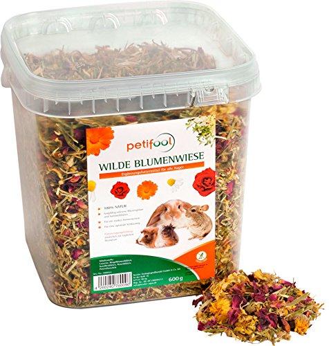 petifool Nager-Ergänzungsfutter Wilde Blumenwiese, natürliches und gesundes Kaninchenfutter, 1er Pack (1 x 600 g)