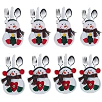 Juego de cubiertos de cocina 8 PCS Cubiertos Cubiertos Cuchillos Tenedores Bolsos en forma de muñeco de nieve Decoraciones para fiestas de Navidad (Árbol * 4 + Corazón * 4)