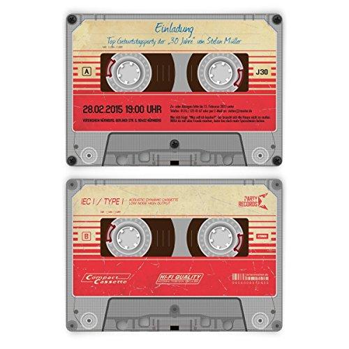 Einladungskarten zum Geburtstag (30 Stück) als Kassette / Musikkassette Motiv Einladung