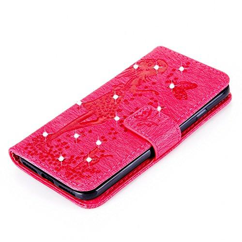 Für Apple IPhone 7 Abdeckungs-Fall, prägeartiges Mädchen-Muster Rhinestone TPU PU-lederner Mappen-Fall-horizontaler Schlag-Standplatz-Fall mit Halter u. Lanyard u. Karten-Schlitzen ( Color : Blue ) Red