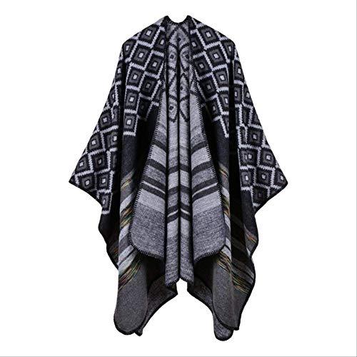 Scialle a poncho lavorato a maglia, poncho a mantella scozzese di moda vintage, poncho da donna sciarpa a nappa inverno caldo mantello avvolgente in cashmere nero a