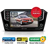 Autoradio Android AWS-9500 für VW Passat B8 inkl. Can-Bus | GPS Navigation (aktuelle Europa-Karten) | DAB+ | USB l Octa-Core | 4K Ultra HD Video | WLAN | Bluetooth (iOS u. Android) | MirrorLink | RDS