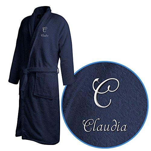 Bademantel mit Namen Claudia bestickt - Initialien und Name als Monogramm-Stick - Größe wählen Navy
