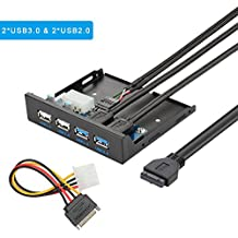 ELUTENG Frontalino USB 3,0/2,0 Panello USB HUB 3,5 Pollici 4 porte in Metallo per Floppy Bay Front Panel con 20 Pin Connectore per Desktop PC DIY