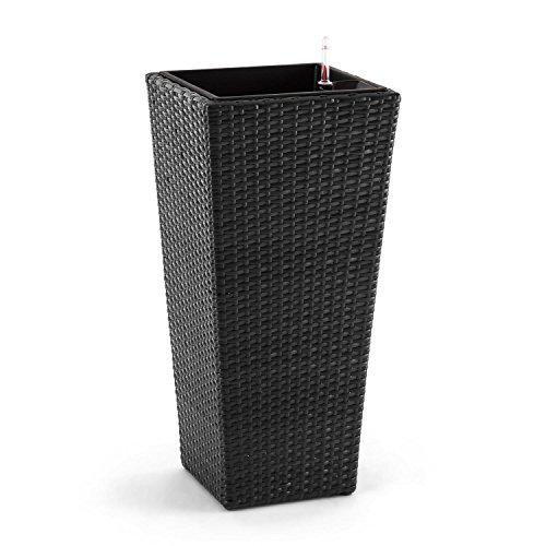 Blumfeldt primaflor hydro vaso per piante con sistema di irrigazione integrato (37 x 76 x 37 cm, polyrattan, 1,5 kg di granulato incluso) antracite