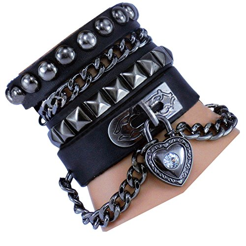 PU Leder Rock Punk Rivet Multi Layer Kette mit Kreuz Halloween (Kostüme 50's Boy)