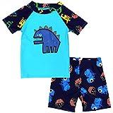 Weimisi Boys Short Sleeve Rash Guard Dinosaur Swimsuit Set (4T(105-115cm)