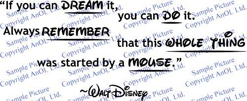 (100x 41cm) Vinyl Wand Aufkleber Zitat You Can Dream, Always Remember, ganze Schritte von eine Maus/Walt Disney Sprüche Aufkleber + Gratis Aufkleber Geschenk macht. - 2