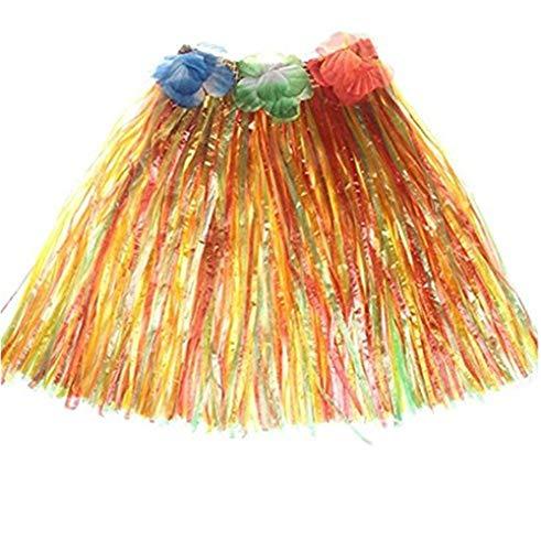 Milopon Hawaii Rock Bastrock Südsee Pazifik Hula Gras Skirt für Kinder Karneval Kostüm Party, Geburtstag, Feier40 cm (Mehrfarben)