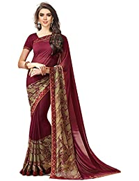 Bhankhariya Women's Georgette Printed Sarees For Women Latest Design 2018 With Blouse Piece (A20Brown-SAREE15#...