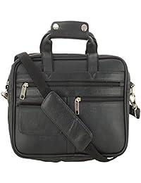 "O.K. INTERNATIONAL 11""inches Laptop, 100% Genuine Leather Laptop Bag For Laptop/ Cash/ Messenger/ Office (OKLRMINISHBL)"