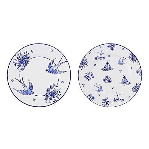 Talking Tables Party Porcelain Blue Grandes Assiettes Style Vintage avec Motif Chinois pour Fête d'Anniversaire, Goûter Festif, Pique-nique et Réception en Plein Air, Bleu et Blanc, 28cm (Paquet de 8 contenant 2 modèles)