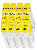 4er Pack - Tintenpatronen Kompatibel zu HP 940 XL 940XL mit Chip (4x Gelb/Yellow)