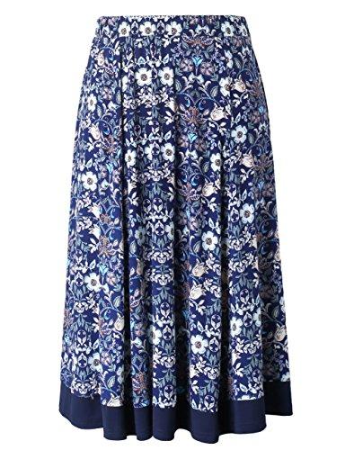 Chicwe Falda de Tablas Tallas Grandes Mujeres Faldas Plisadas con Cintura Elástica Longitud a Pantorrilla Azul Floral 2X