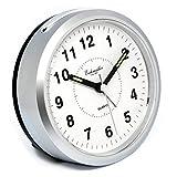 Eichmüller Wecker Analog mit Licht und Weckwiederholung - batteriebetrieben rund in Silber mit Ziffernblatt Alarm - Tischuhr Uhr