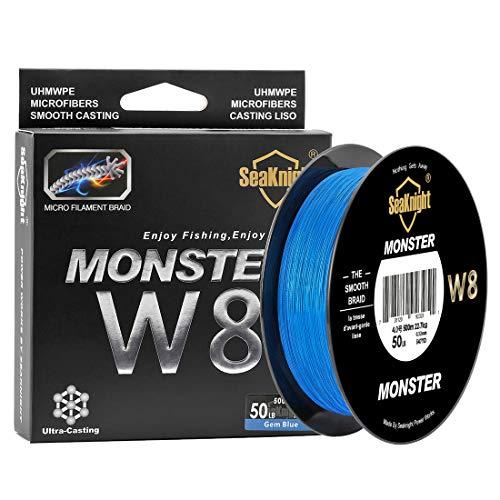 SEAKNIGHT Monster W8 Filo da Pesca trecciato 8 Fili 300m/500m, Filo Super Liscio in PE multifilamento trecciato, per Pesca in Mare 15 - 45 kg