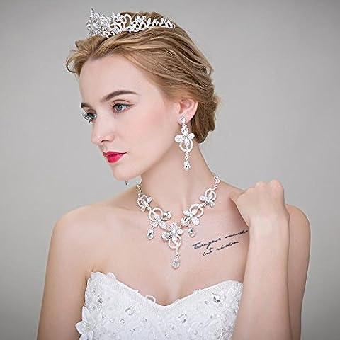 F&HY&L Gioielli da sposa diademi da sposa capelli Accessori Matrimonio coreano orecchino collana tre tuta accessori