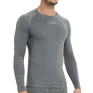 COOLOMG Herren Kompressionsshirts Funktionsshirts Unterhemd T-Shirts Langarm Fitness Schnell trocknend MEHRWEG