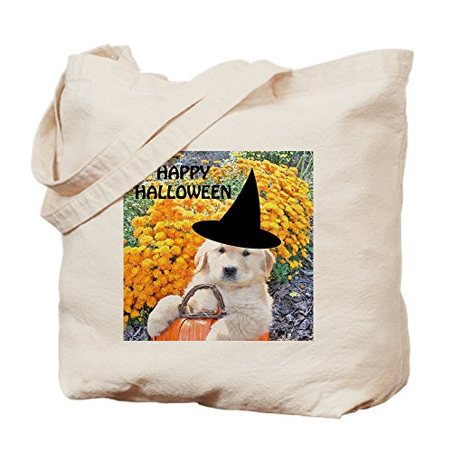 CafePress–Halloween Funny Puppy Hexe Untersetzer, Pille–Leinwand Natur Tasche, Reinigungstuch Einkaufstasche Tote S khaki