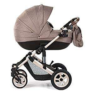 Roma Moda Pram, Includes Carry Cot, Rain Cover, Cup Holder and Bag - Tweed   12