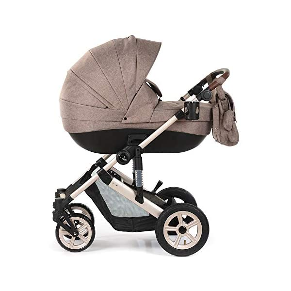Roma Moda Pram, Includes Carry Cot, Rain Cover, Cup Holder and Bag - Tweed Roma Suitable from newborn - 15kg - Raised backrest in the carry cot Lightweight aluminium frame - All round suspension - Easy fold All terrain tyres (rear air tyres and front foam tyres) Large hood with viewing window 1