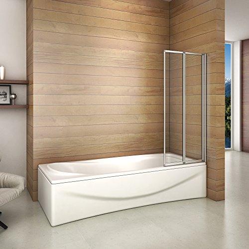 faltbare duschwand fuer badewanne Badewannenaufsatz Duschabtrennung 120x140cm 2-teilig Duschwand für Badewanne Faltbar ESG Sicherheitsglas