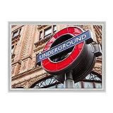7c9e2ecef2 QUADRO SU TELA CANVAS INTELAIATO - CON CORNICE - Londra - UK Inghilterra -  Underground Tube
