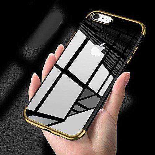 Crystal Skin Tpu Case (phezen iPhone 8Plus CLEAR Case, iPhone 7Plus, Ultra Slim Crystal Clear TPU Gummi Case mit Vergoldung Rahmen kratzfest transparent Silikon Gel weich SKIN Back Case für iPhone 7/8Plus gold)
