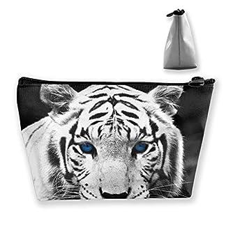 Tiger Wild Predator con ojos azules Bolsas de cosméticos de viaje Estuche Lápiz Bolsa multifunción