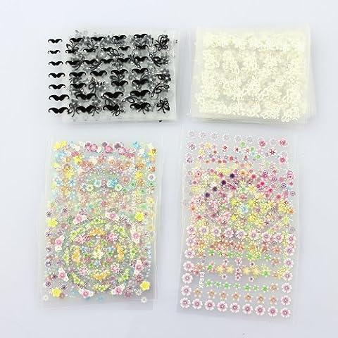Ohyou 50 fogli 3D Nail Decals Tip Nail Art Sticker Mix colore fiore autoadesivo Decal decorazione