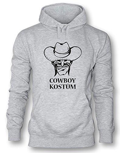 Cowboy Kostüm - Herren Hoodie Grau - Schwarz in Größe M