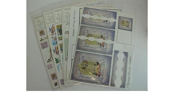1 Decoupage//1 Backing Sheet AM579 7 x 2 Pc Varied Animal Decoupage Pks