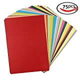 #10: CVANU Premium Pack Of 75 Sheets Bulk Color Art Papers A4 Construction Paper Craft Supplies for Kids (25 colors). 120GSM