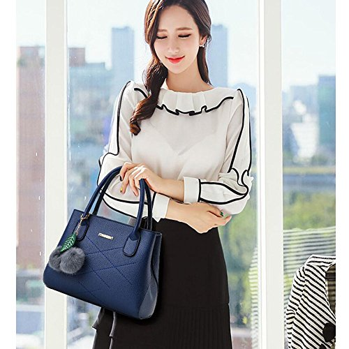 Toopot Sacchetto di spalla di cuoio della borsa di cuoio di Pu Può semplice semplice delle donne Blu reale