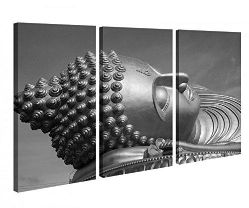Leinwandbild 3 Tlg Big Buddha Schlaf Thailand Statue Schwarz weiß Leinwand Bild Bilder Holz fertig gerahmt 9P1075, 3 tlg BxH:120x80cm (3Stk 40x 80cm) -