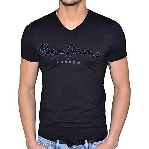 Pepe Jeans-Maglietta a maniche corte, da uomo, Original Flock Stretch V, colore: nero nero Large
