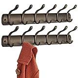 mDesign appendiabiti da parete - attaccapanni per l'ingresso e per il bagno - 6 ganci appendiabiti per giacche, accappatoi e asciugamani - Colore: bronzo - Confezione da 2