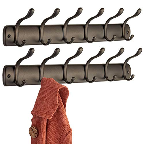 mDesign Wandmontierte Hakenleiste für Jacken, Mäntel, Mützen, Schals - 6 Haken, Bronzefarben - 2er Set -