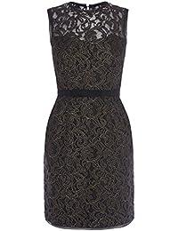ba714f383 Karen Millen Lace Beaded Shift Dress Black Gold Metallic