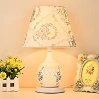 HM&DX Lámpara de mesa,Lámpara cerámica de noche tela sombra mesita luz cálida lámpara de escritorio decorativo para el dormitorio,Sala de estar-C