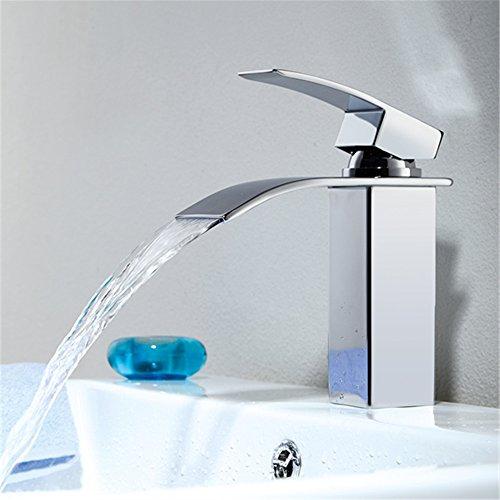 Homelody Bad Waschbecken Armatur Chrom Wasserfall Wasserhahn Badarmatur Mischbatterie Armatur Einhebelmischer Waschbeckenarmatur Waschtischarmatur Waschtischbatterie Waschtischmischer -
