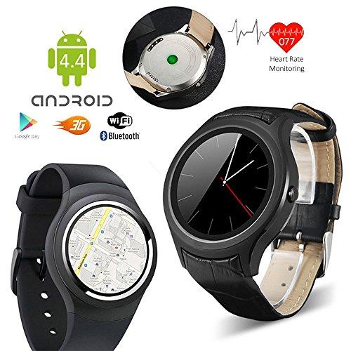 Indigi® # 1Schicke 3G Smart Armbanduhr entsperrt Handy Android 4.4WiFi Google Play Store Herzfrequenz Monitor Schrittzähler (SIM-Karte oder Bluetooth Sync interconvertible)