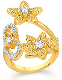 VK Jewels Delight Flower Gold And Rhodium Plated Alloy CZ American Diamond Adjustable Ring For Women [VKFR2716G]