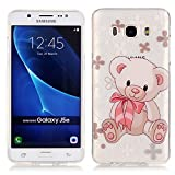 Silicone Case for Samsung Galaxy J5 2016 Gift Pink Plush Toys Hold Bear TPU Gel Strict fit Painted pattern Simple and stylish Transparent Cover Bling Bling Shiny Anti-slip Skin Suitable for the party Protection Strict Shockproof Heavy Duty Robust Bumper Case Buffer Shell + 1 * Black Stylus Pen Black