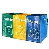 Opret Bolsas Basura Reciclaje 3 Pack Cubo de Reciclaje Separadas con Asas Gran Capacidad 40L para Papel,...