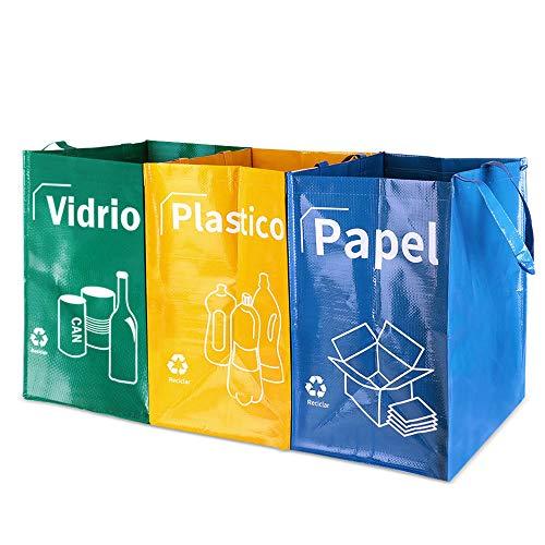 Opret Bolsas Basura Reciclaje 3 Pack Cubo de Reciclaje Separadas con Asas Gran Capacidad 40L para Papel, Vidrio y Plástico, Ideal para Hogar/Oficina/Interior/Exterior ...